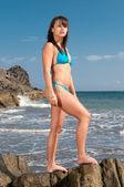 Sexy woman standing on rocks — Stock Photo