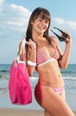 Woman with bikini at the beach — Stock Photo