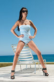 Beautiful girl in a bathing suit — Stock Photo