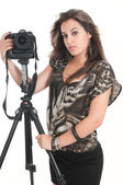 Woman with tripod and camera — Foto de Stock