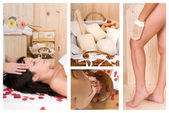 Collage of a sauna spa images — Stock Photo