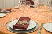 Fancy table set for a wedding celebration — Stock Photo