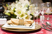 Fancy table set for a wedding celebration — Photo