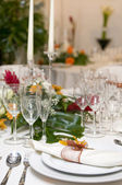 Fancy table set for a wedding celebration — Stock Photo