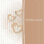 Wedding invitation card with decorative hearts. — Stock Vector