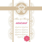 Wedding invitation card with carriage — Stock Vector