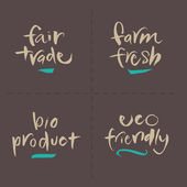 Hand written Vector Food Labels - Fair Farm Bio Eco — Stock Vector