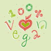 100 % main de végétalien lettrage illustration — Vecteur