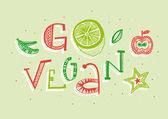 Go vegan hand lettering illustration — Stock Vector