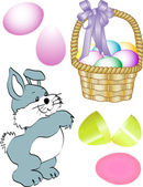 Happy easter egg rabbit — Stock Vector