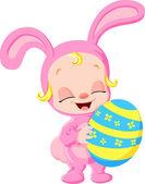 Happy easter egg rabbit — Stock Vector