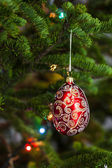 Red christmas ball on firtree — Stock Photo