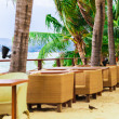 Restaurant on the coast with Palm trees — Stok fotoğraf