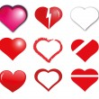 Heart vector shapes — Stock Vector