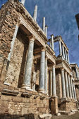Side view with statues of the Roman Theatre — Stock Photo