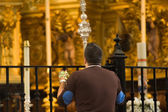 Virgin of El Rocio devout praying — Stock Photo