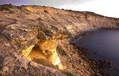 The sun sunrise over the Praia da Luz — Stock Photo