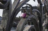 The pink padlock — Stok fotoğraf