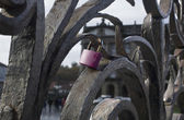 The pink padlock — 图库照片
