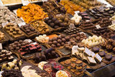 Chocolate sweets on the Boqueria — Stock Photo