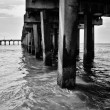 Stock Photo: Under pier on beach at Coney Island