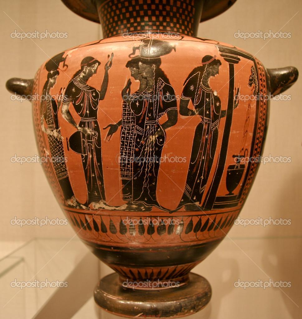Vaso di terracotta hydria kalpis o acqua foto stock for Vaso greco antico