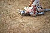 Secutor gladiator on ground — Stock Photo