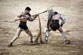 Retiarius gladiator attack — Stockfoto