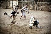 Retiarius gladiator jump — Stock Photo