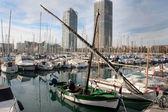 Zelené plachtu laténské fisher loď — Stock fotografie