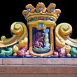 Badajoz city shield on ceramic pieces — Stock Photo