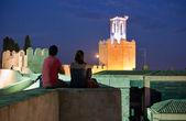 Visiting Espantaperros Tower at night — Stock Photo
