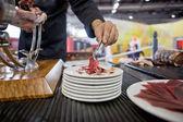Serving acorn-fed Iberian ham — Stock Photo