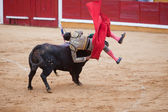 Bullfighter tumble — Stock Photo
