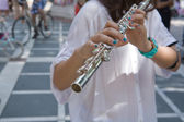 Transverse flute on the street — Stock Photo