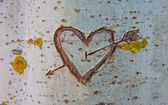 Birch tree with carved heart — Stock Photo