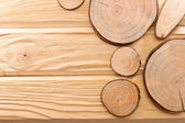 Circular slices of wood — Stock Photo
