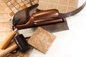 A set of tools for laying ceramic tile — Stock Photo