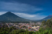 Valley of Antigua Guatemala and two volcanos — Stock Photo
