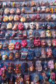 Mayan wooden masks for sale at Chichicastenango market Guatemala — Stock Photo