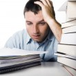 Young Man Overwhelmed and frustrated — Stock Photo #30386543