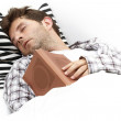Young Man Reading in Bed Asleep — Stock Photo