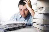 Young Man Overwhelmed and frustrated — Stockfoto