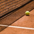 Tennis Ball and Net on a Clay Court — Stock Photo