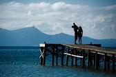 Family Silhouette Sea Landscape — Stock Photo