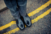 Londoner on immaculate shoes — Stock Photo