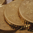 Euro coins piled isolated — Stock Photo