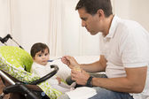 Father Feeding cute Lovely Baby Girl — Stock Photo