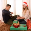 Young Happy Couple Champagne Christmas toast — Foto Stock