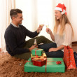 Young Happy Couple Champagne Christmas toast — Stock Photo #35082625